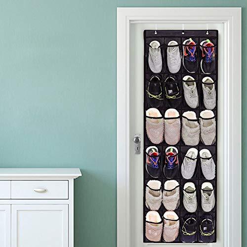 Boaby 24 fickor dörrskohylla hållbart icke-vävt tyg hängande skohylla över dörr vägg hängande dörrorganiserare över dörren 30 x 26 x 3 cm