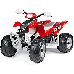 The Peg Perego Polaris Outlaw Quad Bike is a fun and exciting ride on toy for your kids Made for easy and safe riding with 330 W power, this 12V electric trike has 2 wheel drive, an accel 4km/h With a LED light up electronic dash button, motor sounds...