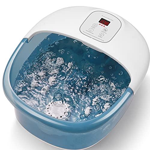 pediluvio Spa, massaggiatore per piedi con spruzzatore e riscaldamento vibrante, vasca da bagno elettrico, riscaldamento con temperatura dell'acqua, 14 rulli massaggianti...
