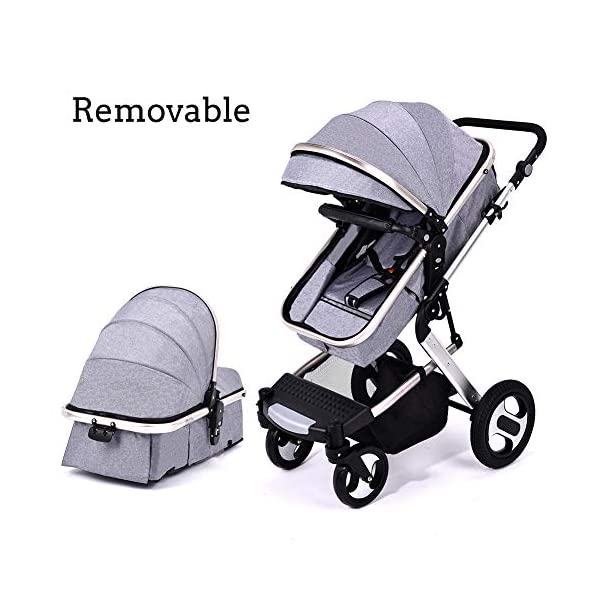 RUXGU High landscape Pushchairs 2-in-1 Baby stroller Travel Systems Folding Lightweight Newborn Safety System With Rain Cover and Mom Bag(Gray) RUXINGGU High landscape stroller, baby travel system High-performance shock absorption guarantees comfort for infants Spacious basket, high view, suitable for outdoor use 6