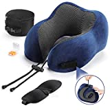tchipie memory foam travel neck pillow for airplane, adults plane traveling pillow, flight travel