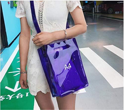 LLine Dames Handtas 2 in 1 Transparant Pakket A4 A5 PVC Casual Meisjes Schoudertas Messenger Bag, A4 paars