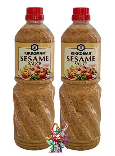 yoaxia ® - 2er Pack - [ 2x 1000ml] KIKKOMAN Sesamsauce / Sesame Sauce + ein kleines Glückspüppchen - Holzpüppchen