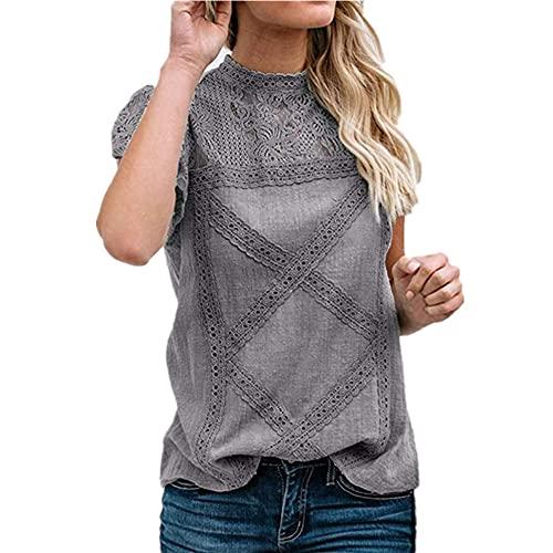 Tops Mujer Tela Cómoda Camisa Lino Sexy Camisa Manga Corta Tela Suave Y Transpirable Suelta Detalle Encaje Simple Blusa Mujer Moda Verano B-Gray S