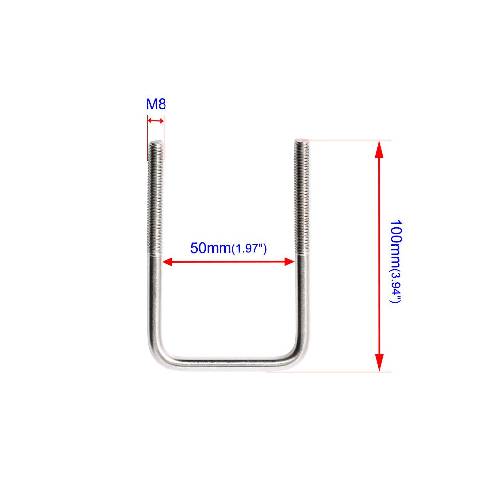 Aopin Square U-Bolt 1 25mm Inner Width 304 Stainless Steel Silver M6 with Plates Nuts 1Pcs