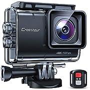 Crosstour Caméra Sport Native 4K 50FPS 20MP Écran Tactile Supérieur EIS Caméra Étanche 40M avec Télécommande WiFi Et Kit D'accessoires Complet
