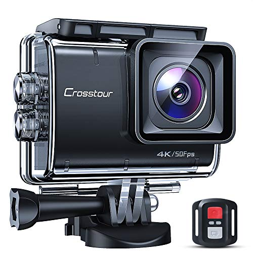 Crosstour CT9700 Native 4K50fps Advanced EIS Touch Screen Action Camera 20MP Underwater Camcorder (LDC, 40M Waterproof, WiFi, Remote Control, Mounting Accessories Kit)