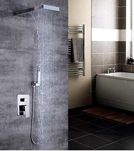Juego de grifo de ducha empotrado con ducha de lluvia y alcachofa de mano, sistema de ducha para empotrar