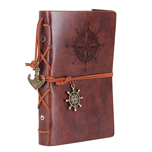 Leather Writing Journal Notebook, EvZ 7 Inches Vintage Nautical Spiral Blank String Diary Notepad Sketchbook Travel to Write in, Unlined Paper, Retro Pendants, Classic Embossed, Retro Coffee