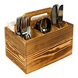 Utensil and Napkin Holder Flatware Caddy with Handle in Rustic Wood for Farmhouse Kitchen Decor, Silverware Organizer