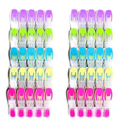 SOHFA Wäscheklammern - 50er Set Wäscheklammer- Klammern aus stabilem Kunststoff mit Soft-Grip - für Wäscheleine oder Wäscheständer(50 Stück)
