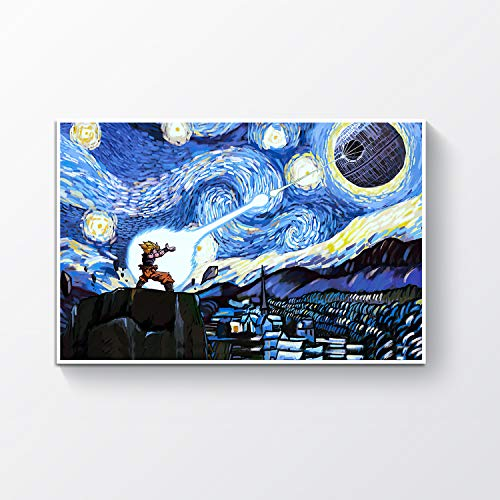 """Goku and Death Star - The Starry Night Poster - Satin Portrait Poster Wall Art Home 24"""" x 16"""""""