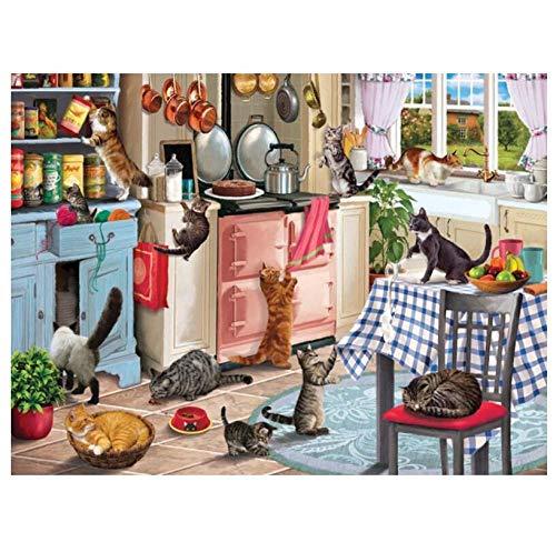 5D Bricolaje Pintura De Diamante Digital Cocina Animales Gatos Encantadora Mesa De Comedor Silla Rhinestone Art Sala De Estar Decoración De La Pared Del Hogar 40×50cm