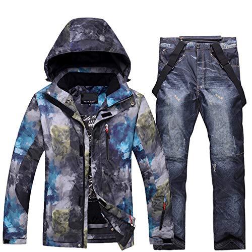 YSML Zwei Stücke Winter Outdoor Wasserdicht Herren Jacke und Hose Winddicht Warm Bergsteigen Snowboarding Skifahren Erwachsener Snowsuit Halten,Schwarz,XXL