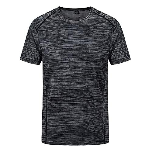 DamaiOpeningcs Camiseta de secado rápido, manga corta, cuello redondo, camiseta elástica deportiva, color gris oscuro, 3XL
