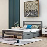 Full Bed Frame with Drawers, Kids Platform Full Bed with Storage, Solid Wood, No Box Spring Needed (Grey,Full)