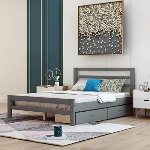 Full Bed Frame with Drawers, Kids Platform Full Bed with Storage, Solid Wood, No Box Spring Needed (Grey,Full) Florida