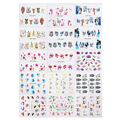 Oce180anYLV 15Pcs Fashion flamant rose translucide à eau Stickers manucure