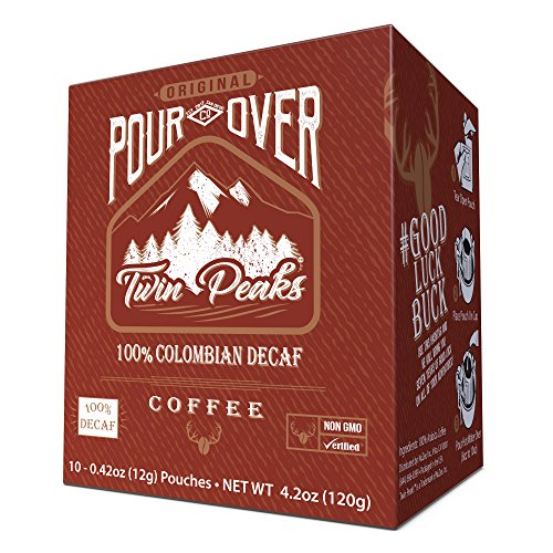 Premium Single-Serve Pour Over Colombian Decaffeinated Coffee Pouches | Portable Ground Coffee Drip Cups | Colombian Decaf Fair-Trade Specialty Coffee | 10 Count Box Coffee Singles | Twin Peaks Coffee
