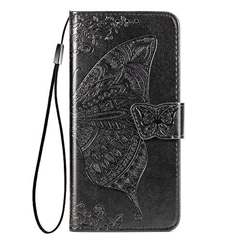 JIAFEI Compatible para Funda Samsung Galaxy S20 FE 5G, Multa Relieve Mariposa Billetera de Tipo Libro Carcasa, Negro