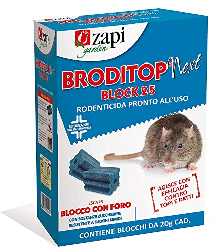 ZAPI veleno per topi Topicida Broditop Forablock 300g (2 pezzi) veleno per topi professionale potente, repellente topi, veleno per trappola per topi, anti topo veleno per ratti