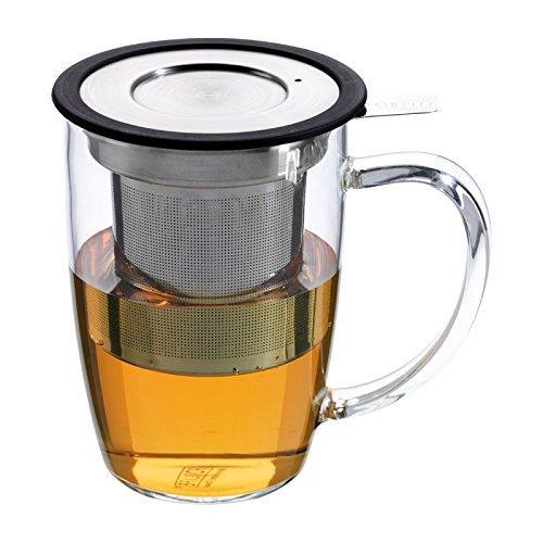 FORLIFE FNG-BLK NewLeaf Teebecher aus Glas mit Teesieb und Deckel, Schwarz
