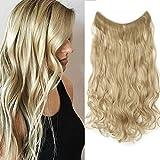 24 Pouces Extension A Fil Invisible Cheveux Elastique Synthetique - Sans Clips Sans Colle - Rajout Cheveux Ondulé Wire In Hair Extension, Blond Cendré