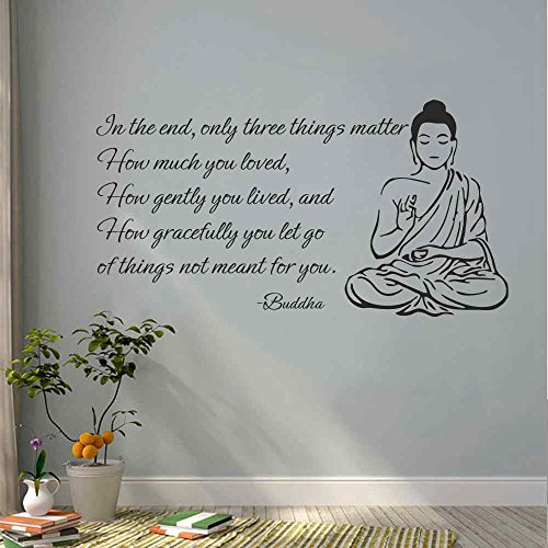 BATTOO Indian Buddha Wall Decal Sticker - Only Three Things Matter Religious OM Yoga Wall Art Decor Mural Buddha Wall Decal Sticker(Black, 12' h x22 w)