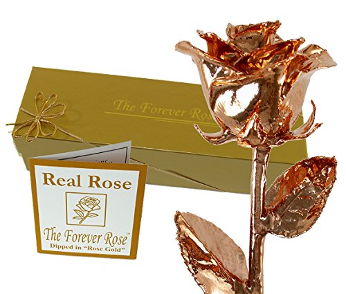 Forever Rose USA Brand - Rose Gold Dipped Real Rose w/Gold Gift Box! (Rose Gold)