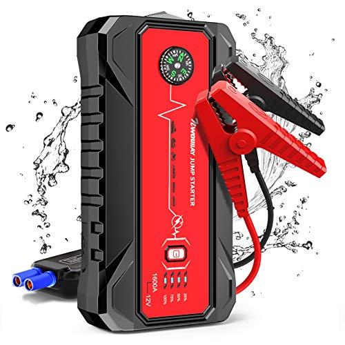 ジャンプスターター エンジンスターター 車用エンジンスターター 緊急起動電源 20000mAh 大容量 12V 急速充電 モバイルバッテリー 1600Aピーク電流 スマートジャンパーケーブル QC3.0 Type-Cポート搭載 LED緊急ライト付き 7Lガ