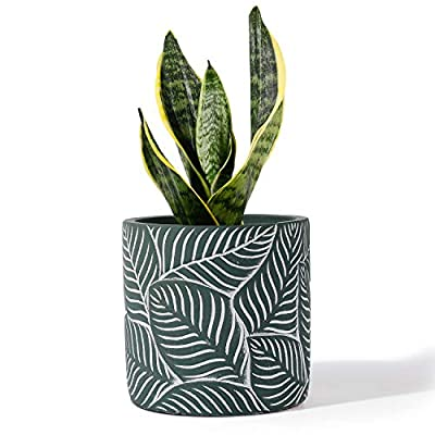 POTEY Cement Planter Flower Pot - 4.8 Inches Vintage Indoor Plants Containers Unglazed Medium Bonsai Concrete with Drain Hole - Green, Geometry Embossment