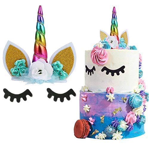 Unicorn Cake Topper Handmade Flowers Eyelashes Unicorn Horn Ears Happy Birthday DIY Glitter Birthday Cupcake Topper Candle Party Decoration for Baby Shower Wedding Birthday