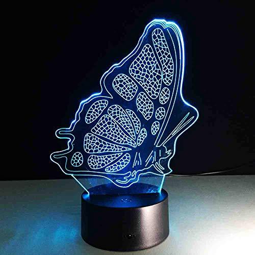BJDKF Led-vlinder, met 3D-ledverlichting, lava lamppara, nachtlampje, slaapkamer, slaapkamer, decoratie, dieren, bijzettafel, bureau, meisjes, Halloween, kerstcadeau, peer lava