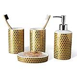 PPOSH Set De Accesorios De Baño Lavabo De Cerámica Dispensador De Emulsión Set De Baño De 4 Set De Enamorados