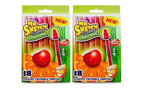 Mr. Sketch 1951331 Scented Twistable Crayons, Assorted Colors, (18 Count -2 Pack)
