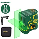 Laser Level Rechargeable, Cross Line Laser Green 98ft TECCPO, Self-Leveling and Pulse Mode, Magnetic Support,...
