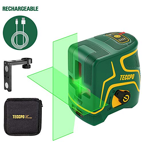 Laser Level Rechargeable, Cross Line Laser Green 98ft TECCPO, Self Leveling and Pulse Mode, Magnetic Support, Horizontal and Vertical Lines, 360° Rotating, IP54 - TDLS09P