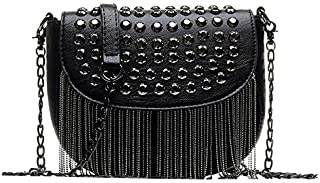 TOOGOO New Women Pu Leather Handbags Tassel Fashion Designer Black Bucket Chain Shoulder Bags Women Messenger Bag Diamond