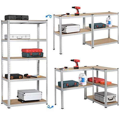 Yaheetech Lagerregal XL Kellerregal Werkstattregal Regal verzinkt belastbar bis 175kg, Größe: 180 x 90 x 40 cm, Keller, Garage