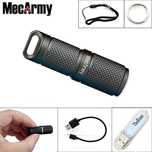 MecArmy X4S Porte-clés Torches CREE XP G2 LED 130 lumens EDC Mini lampe de poche Petite Torche Rechargeable USB Alimenté par 10180 Batterie au lithium-ion (Gris)