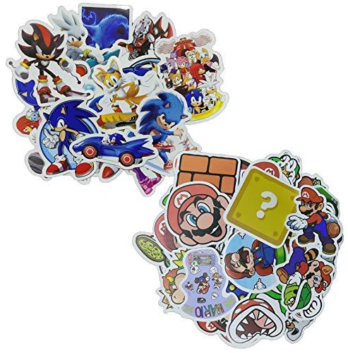 Sonic Super Mario Aufkleber 100 Stück/Los Cartoon Pixel Style Mario Aufkleber Für Kinderspielzeug Snowboard Laptop Gepäck Vinyl Wohnkultur Kühlschrank Auto-Styling Aufkleber
