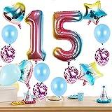 15 globos con el número 15 para cumpleaños de niña, kit de arco iris XXL, globos con número 15, globos de helio arcoíris para decoración de 15 cumpleaños para niñas
