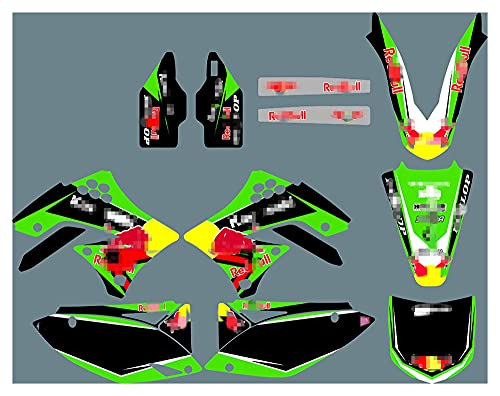 gzcfesbn PJDST-6 Calcomanías de Motocicleta 3M Personalizadas Pegatinas Gráficos Gráficos Kit de decancia gráfica Compatible con Kawasaki KXF 450 2009 2010 2011 ahgzc (Color : Thicken)