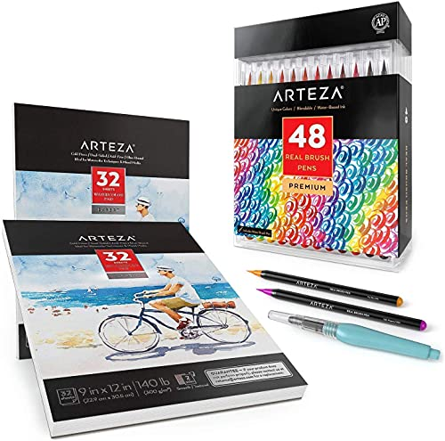 Arteza Real Brush Pen Expert Bundle, Set of 48 Real Brush Pens and 2-Pack of Expert Watercolor Paper Pads, for Watercolor Painting, Drawing Art Supplies for Artist, Hobby Painters & Beginners