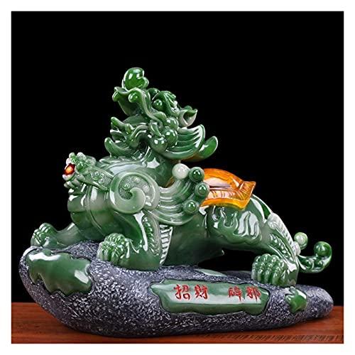 Estatua Decoración del hogar Ornamentos Esculturas Feng Shui Pixiu Decoración, Artesanía de resina Luck Pi Yao / Pi Xiu Prosperidad Figurine, atrae y buena suerte, para regalos de oficina o para el ho