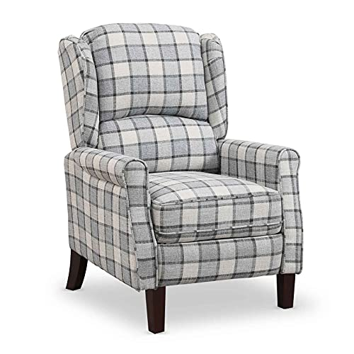 Recling Chairs Wing Back Tartan Recliner Armchair Soft Padded Adjustable Backrest and Footrest Retro Check Leisure Chair For Home Lounge Living Room (Grey)