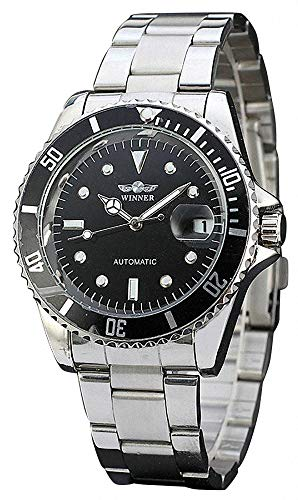 Mens Automatic Watches Full Stainless Steel Waterproof Mens Watches with Calendar (Silver Black)