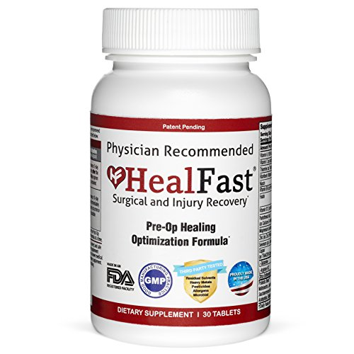 HealFast Surgery & Injury Recovery Supplement (Pre-Op): Supports Pre Surgery Optimization - for Wound Healing, Pain Relief, Scar Treatment & Bruising w/Amino Acids, Vitamins, Probiotics - 30 Tablets