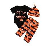 Trajes de Halloween para bebés Unisex recién Nacidos Mi Primer Disfraz de Calabaza de Halloween para 3 Piezas