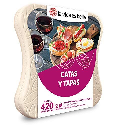 LA VIDA ES BELLA - Caja Regalo Amor para Parejas - Catas y Tapas - Ideas Regalos Originales - 1 Visita a Bodega con cata y obsequio o un menú de Tapas para 2 Personas